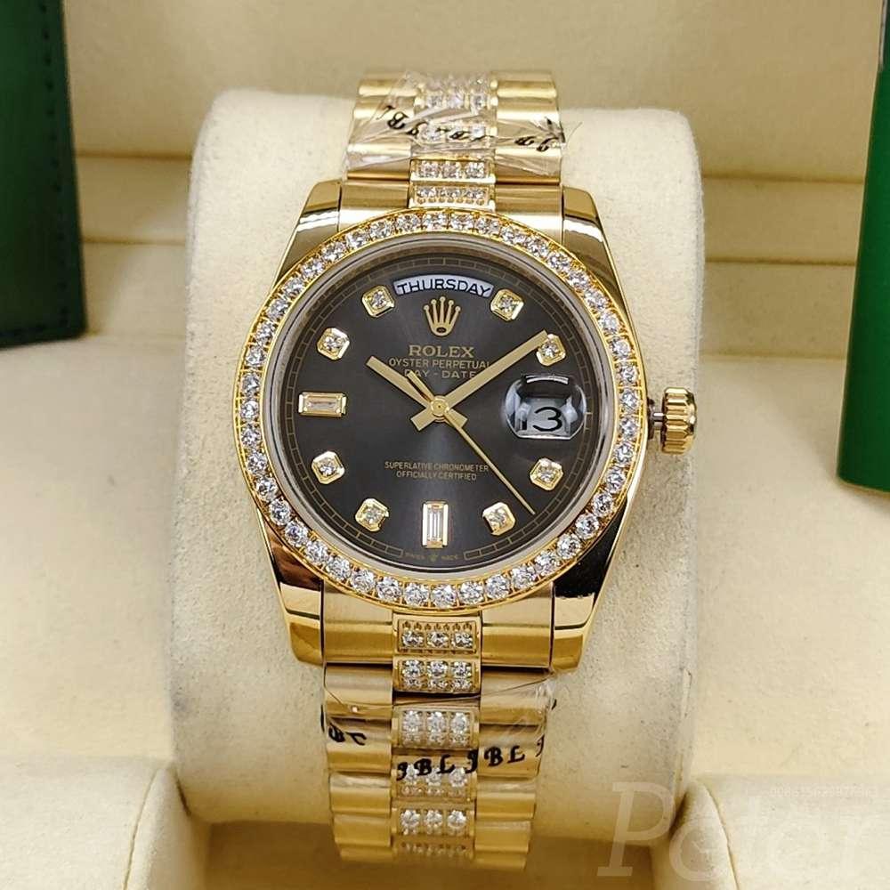 DayDate 36mm gold/gray diamonds bezel AAA automatic 2813 movement S040