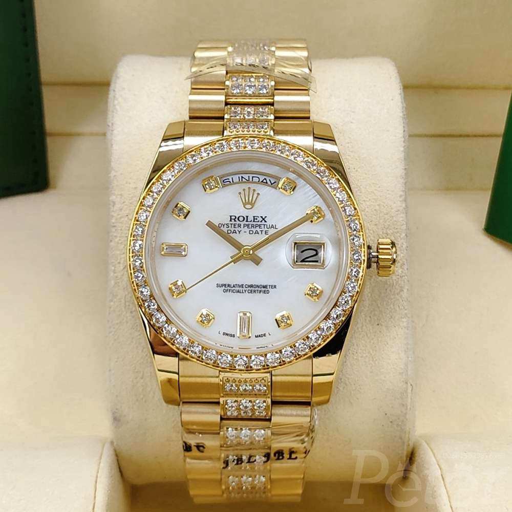 DayDate 36mm gold case white pearl dial diamonds band AAA automatic S040