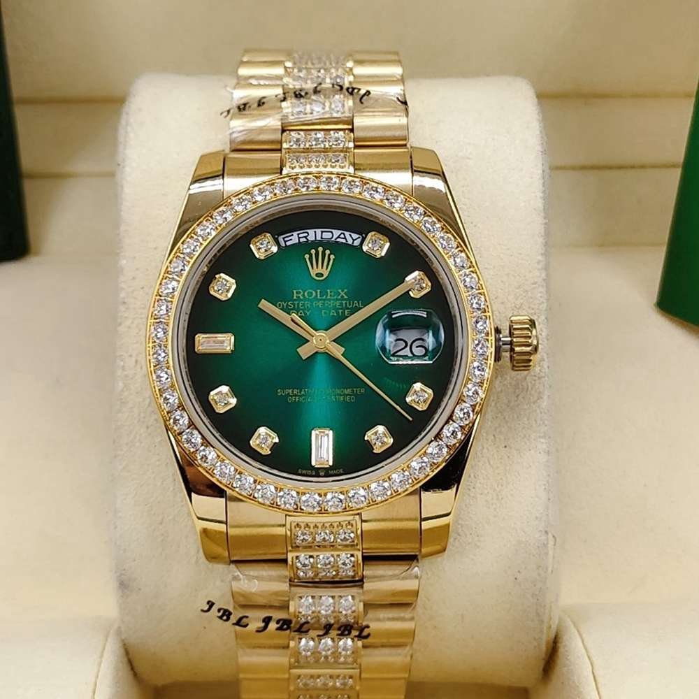 DayDate 36mm gold case green dial diamonds bezel stone numbers AAA automatic S040