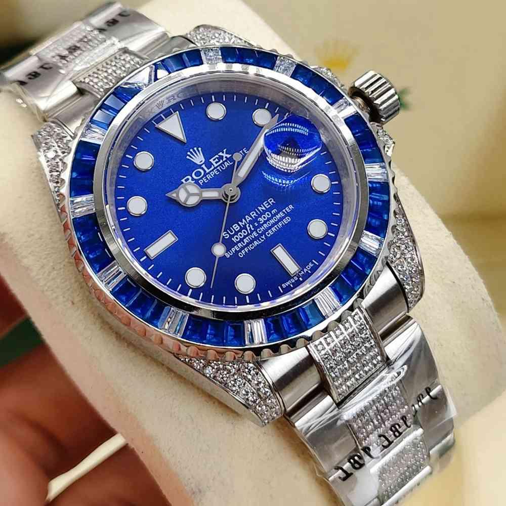 SUB blue baguette diamonds bezel 40mm AAA automatic diamonds strap S080