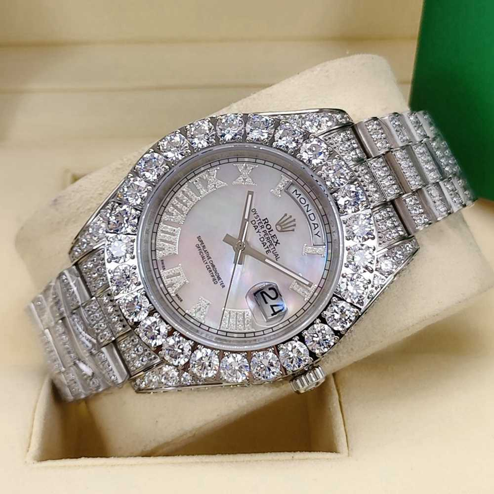 DayDate 43mm iced out silver case white pearl dial diamonds Roman numbers AAA S095