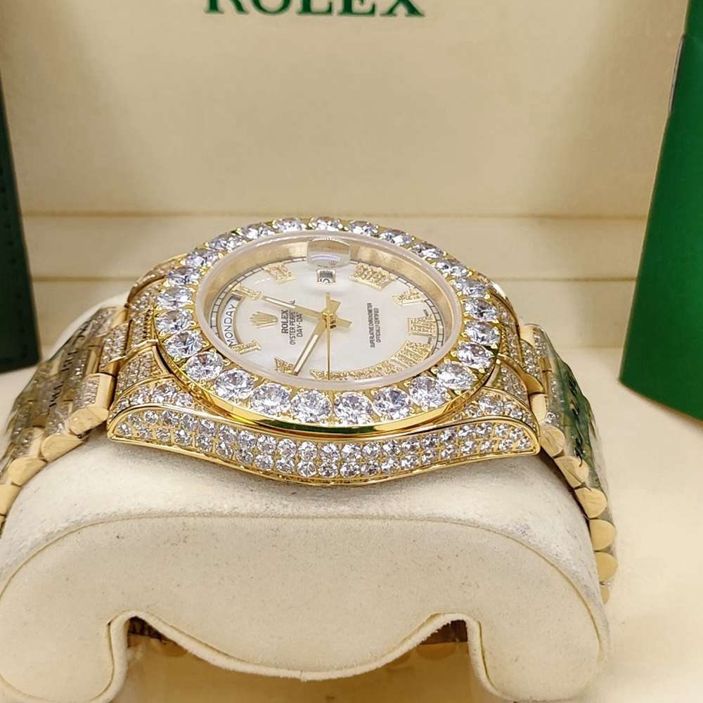 DayDate 43mm full diamonds gold case white dial Roman numbers AAA automatic S095