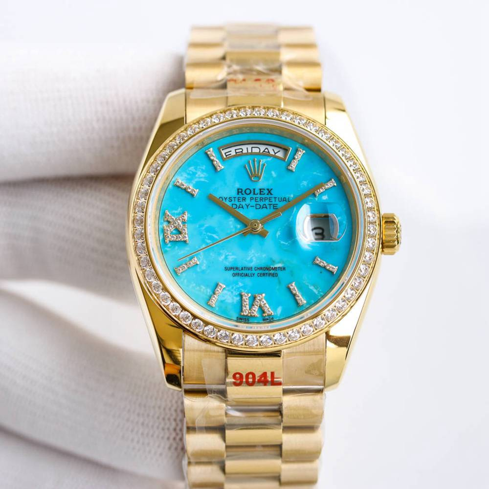 DayDate 36mm gold case Swiss 1:1 grade diamonds numbers Turquoise blue dial WT160