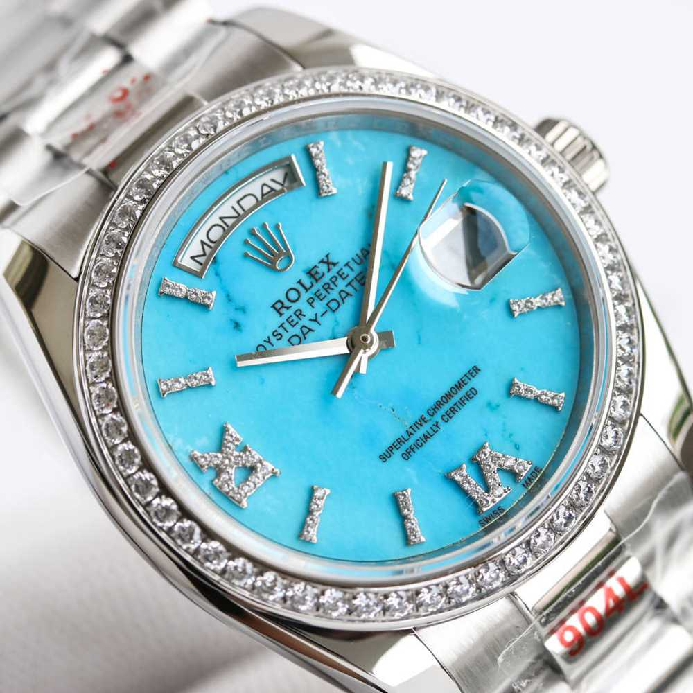 Daydate 36mm silver case Turquoise dial high grade 1:1 quality WT160