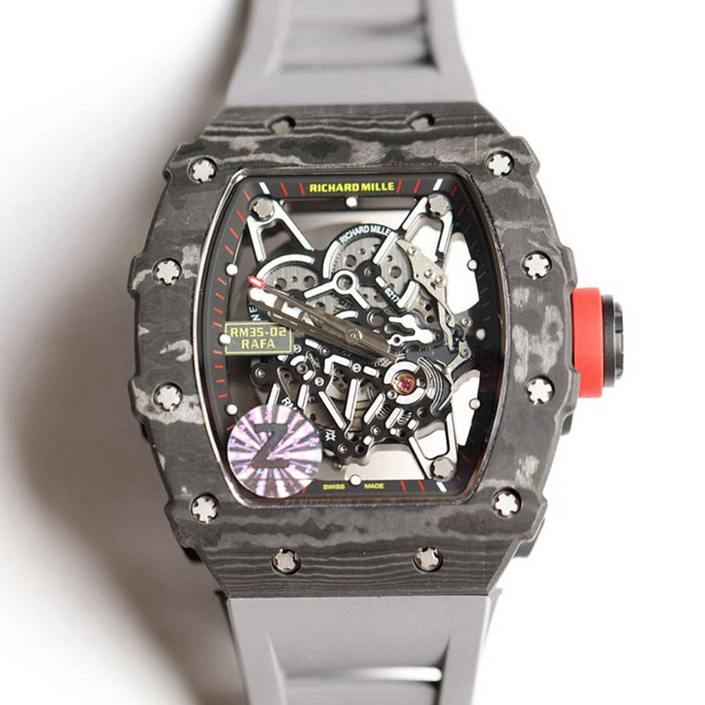 RM35-02 Carbon case skeleton dial gray rubber strap Z factory Seiko automatic men's watch XD015