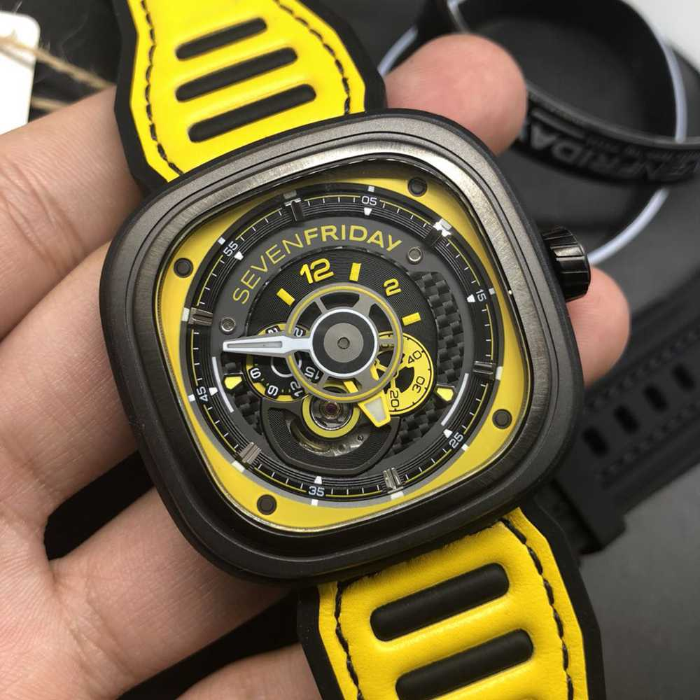 SevenFriday black case 47mm yellow rubber strap high quality miyota 8215 movement M100HZ