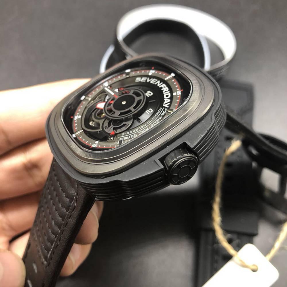 SevenFriday black case 47mm high quality miyota 8215 automatic black leather men watch M100HZ