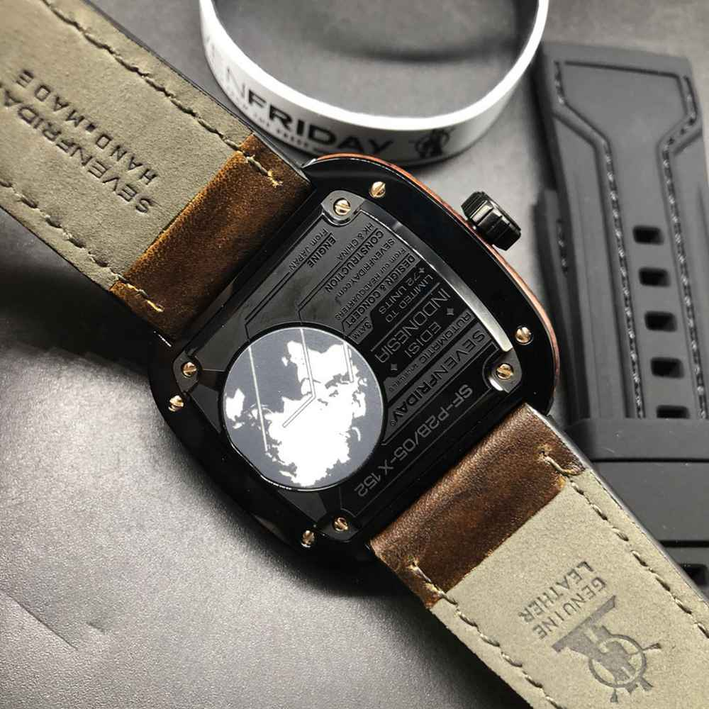 SevenFriday black dial 47mm brown leather strap Miyota automatic 8215 movement M100HZ