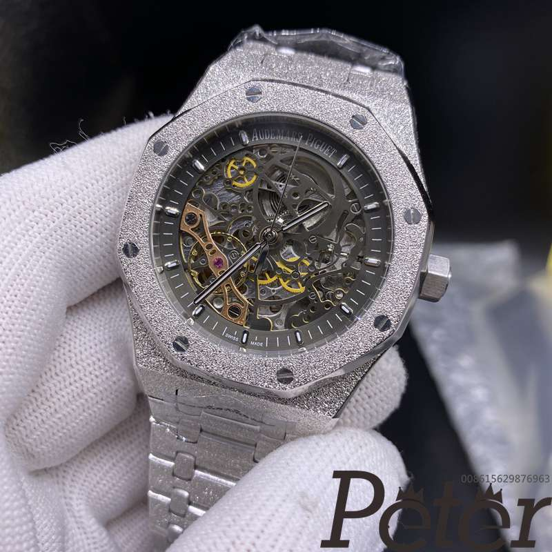 AP frosted silver case gray dial 42mm automatic high grade men's skeleton watch BL034