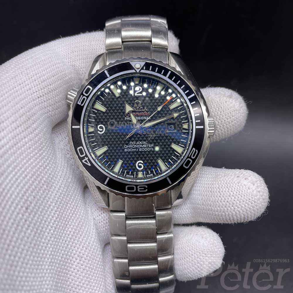 Omega Seamaster 43.5mm AAA automatic silver/black 007 steel back men's wristwatch Mis028