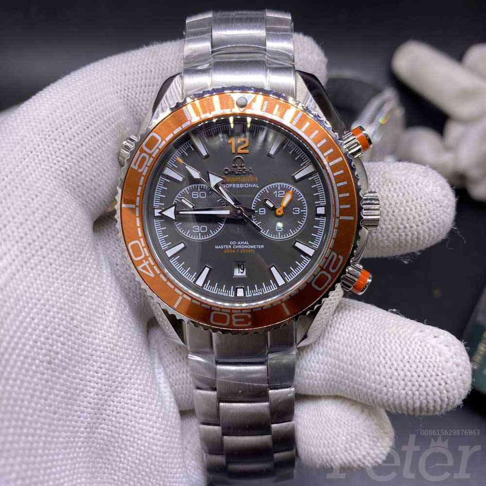 Omega Seamaster 43mm orange bezel gray dial silver case AAA automatic glass back Men's Mis026