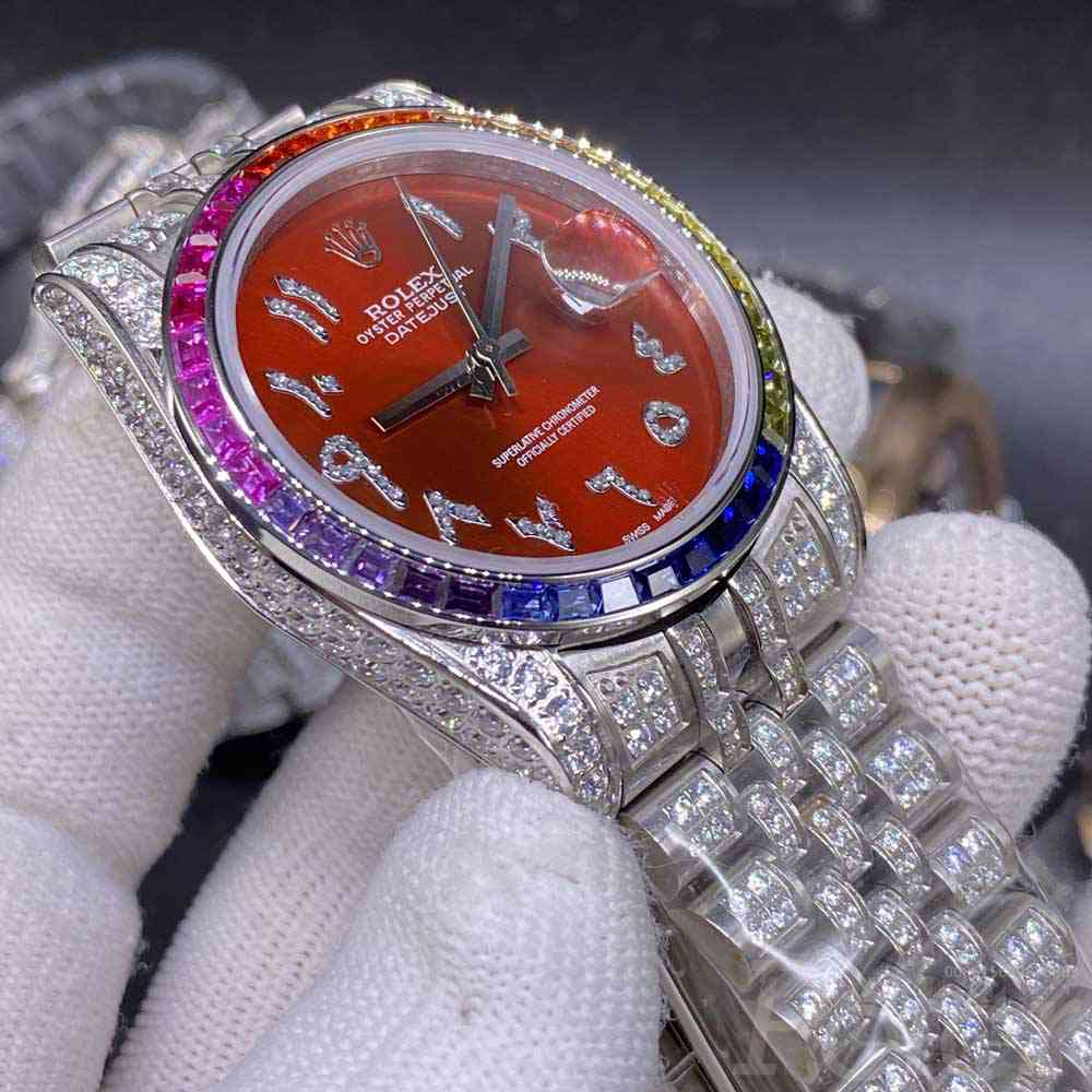Datejust iced out 36mm silver case red dial rainbow baguette diamonds bezel jubilee band MH105