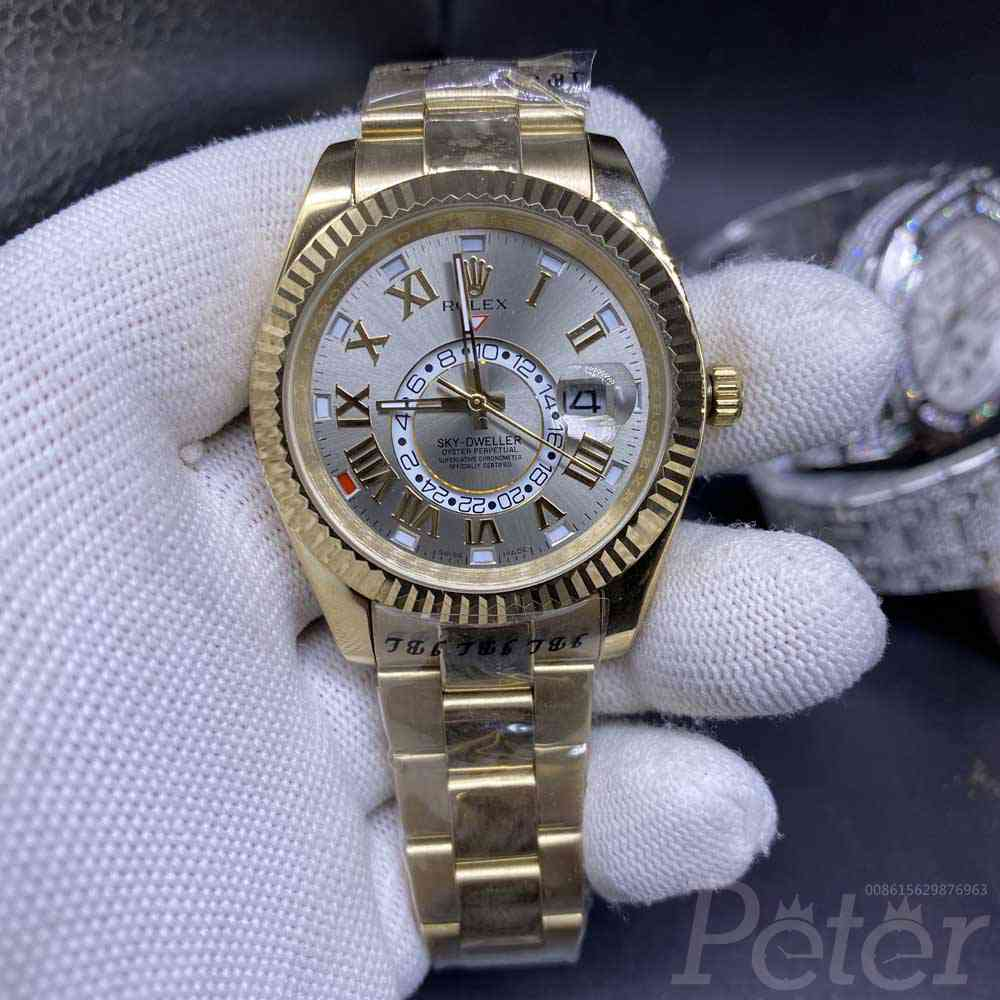 Sky-Dweller AAA gold case gray dial 41mm roman numbers automatic Men watch S032