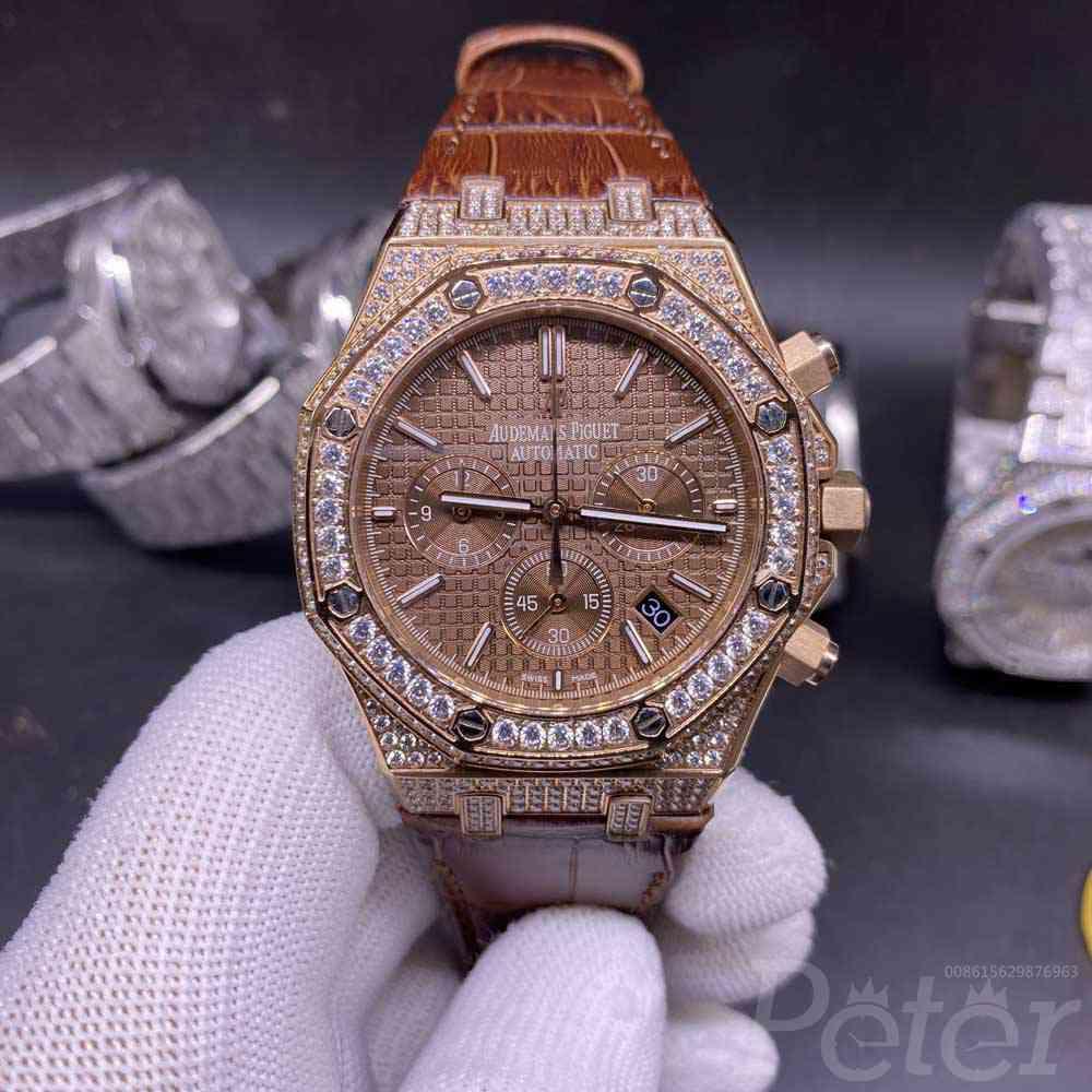 AP diamonds rose gold case 42mm brown leather strap coffee dial vk quartz men stopwatch XJ065