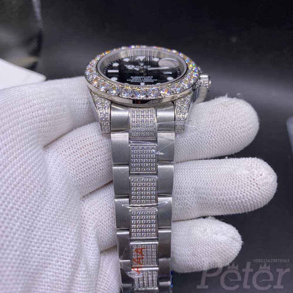 SUB 40mm diamonds bezel stainless steel silver case black dial zircon stones strap AAA MH075