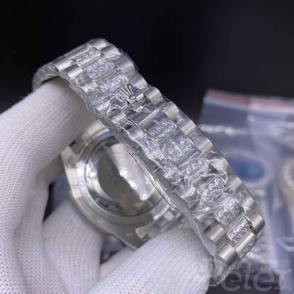 DayDate 43mm prongset diamonds bezel blue face roman numbers AAA automatic S040