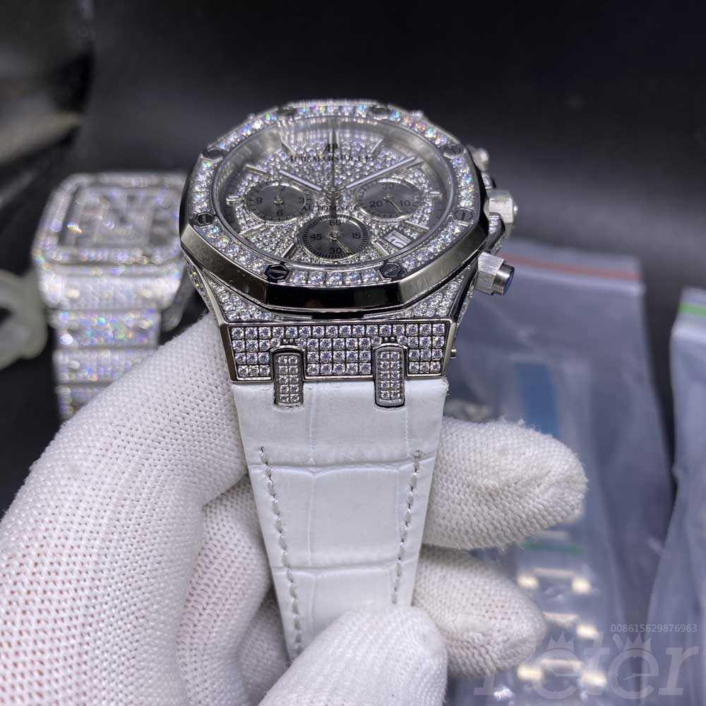 AP diamonds silver case 42mm vk quartz chronograph men stopwatch white leather band XJ073