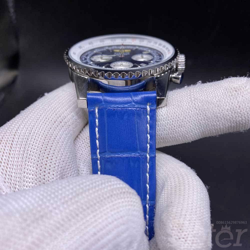 Breitling silver/blue 46mm Chronograph quartz movement blue leather strap men's stopwatch M025