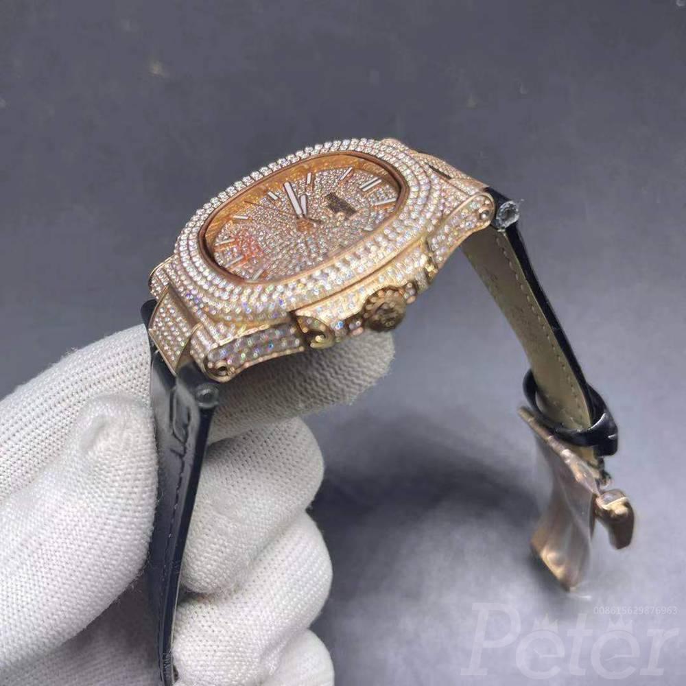 Patek iced out rose gold case 40mm diamonds face black leather strap men shiny watch XJ075