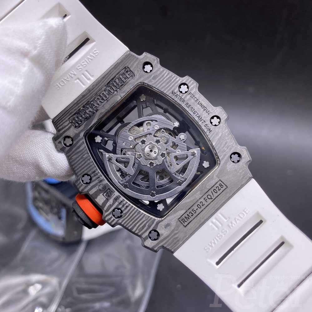 RM35-02 Carbon black case 42x50mm see-through men watch white rubber strap XD145