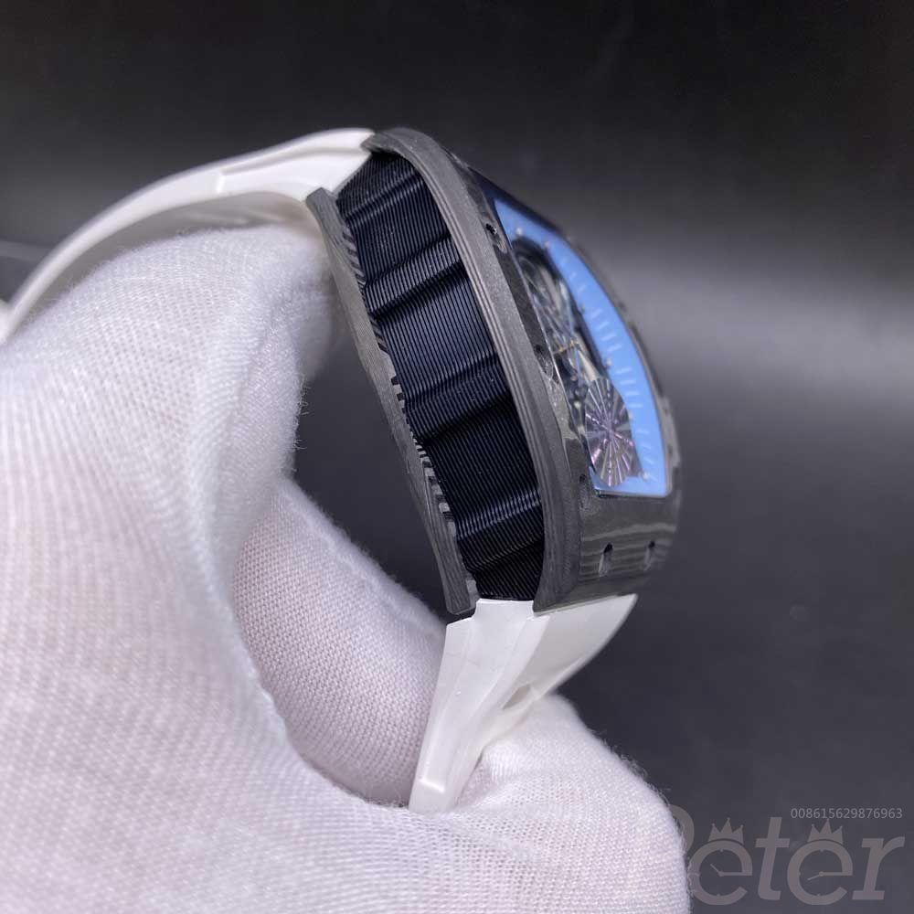 RM055 automatic carbon black case 42x50mm white rubber strap skeleton men watch XD135