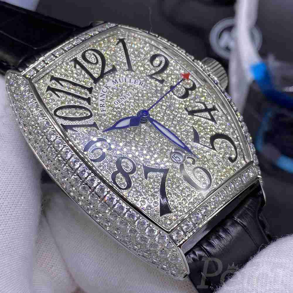FM diamonds silver case 39x46mm AAA automatic movement with black leather band WS048