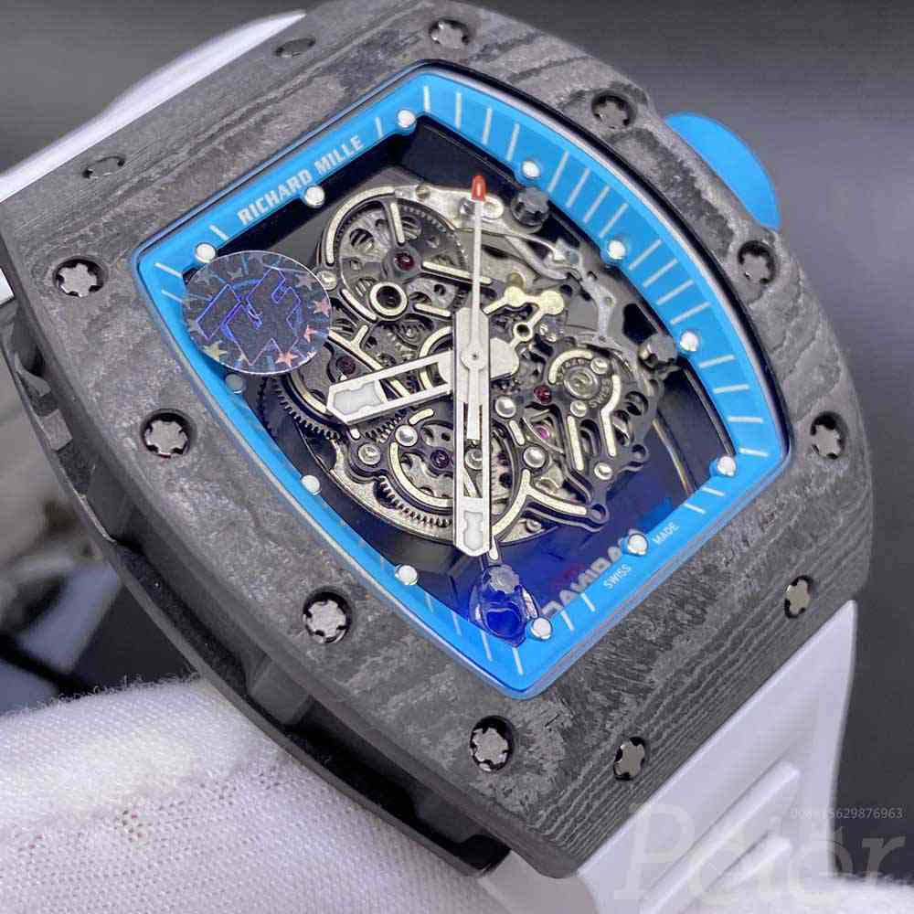 RM055 ZF factory Limited Edition NTPT Carbon case 41x49x13.5mm white rubber strap WT355