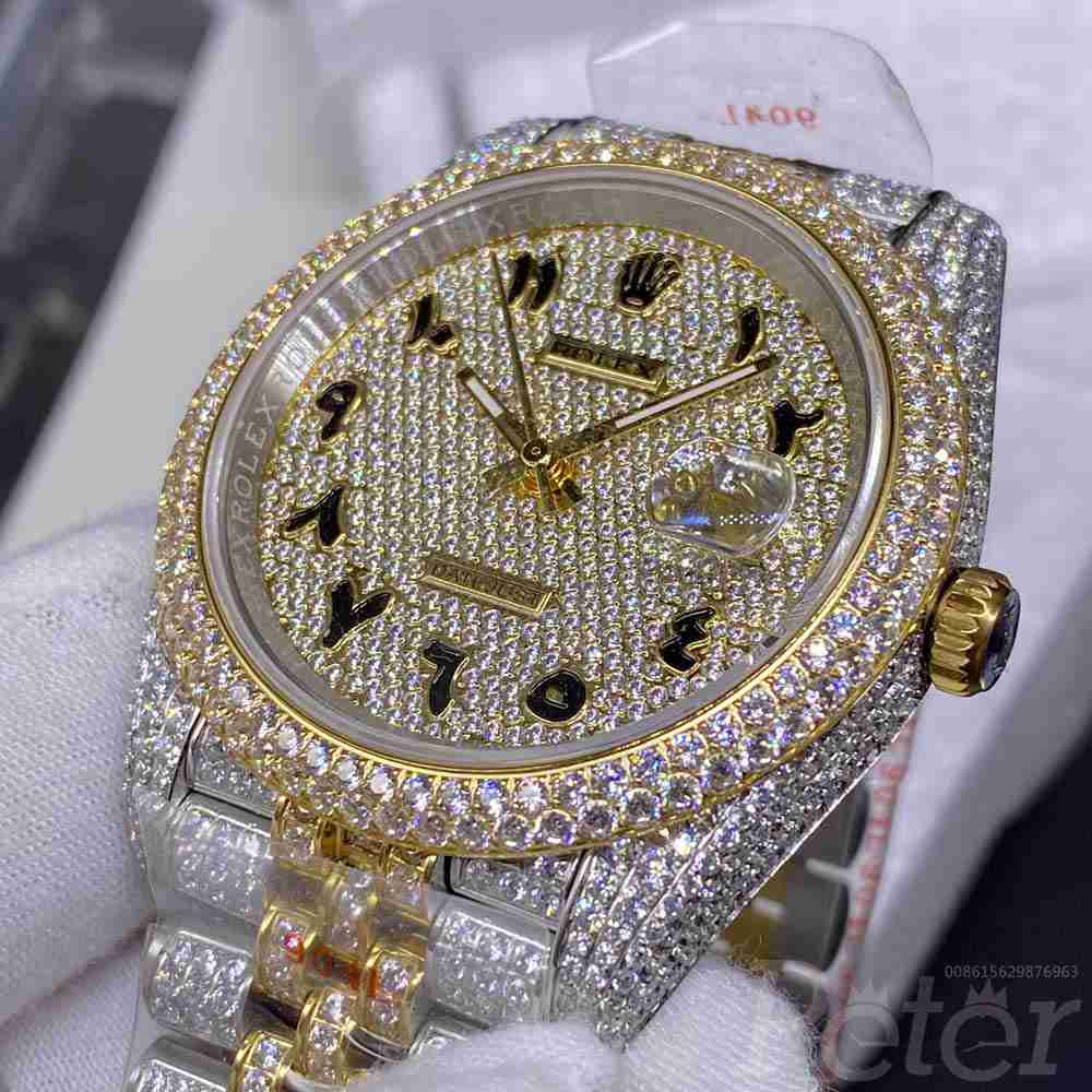 Datejust swarovski diamonds gold two tone case 40mm gold face arabic numbers jubilee band XD28