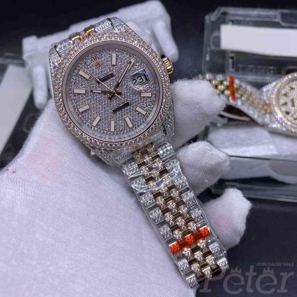 Datejust Swarovski diamonds rose gold two tone case 40mm jubilee band bustdown buckle XD280
