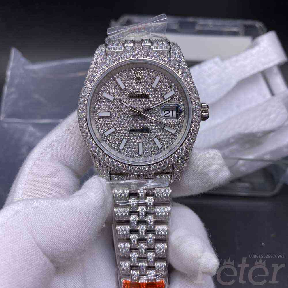 Datejust iced out swarovski diamonds silver case 40mm 2824 movement jubilee band XD270