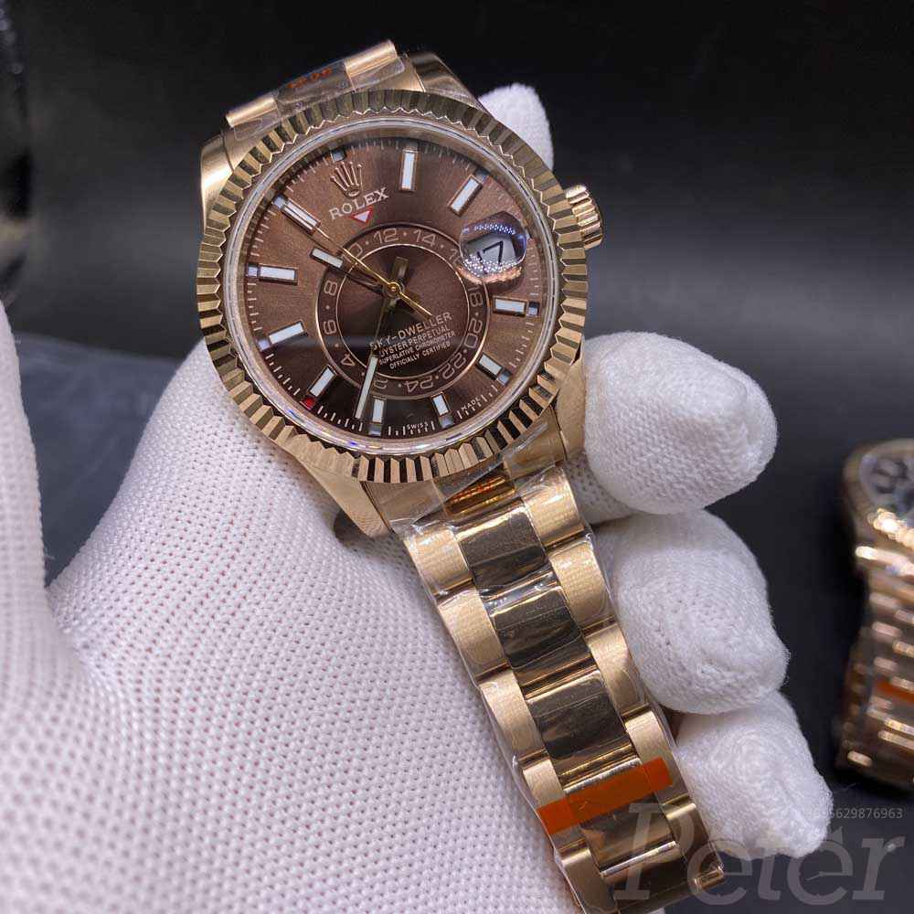 Sky-Dweller 42mm rose gold case brown dial full works 9001 automatic movement WT130