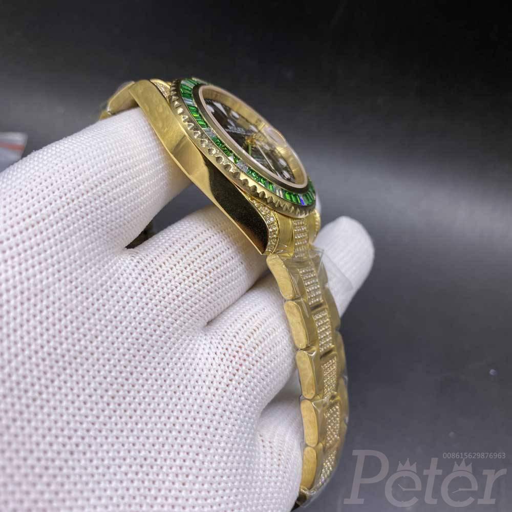 GMT gold case 41mm black dial green baguette diamonds bezel AAA 2813 movement MH080
