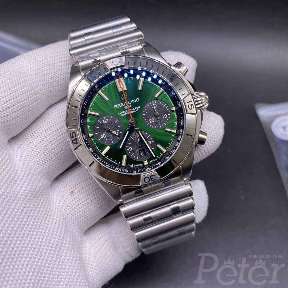 Breitling silver/green 42.5mm Swiss 1:1 grade full chronograph functions 7750 automatic TF WT255