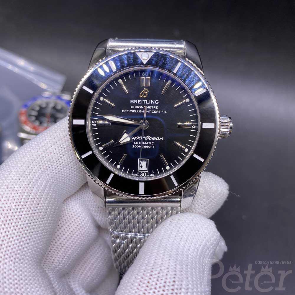 Breitling Super Ocean silver/black 42mm OXF 2824 automatic high grade men's watch WT145