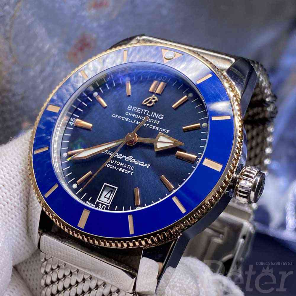 Breitling 2tone rose gold case 42mm blue dial OXF high grade 2824 automatic movement WT015