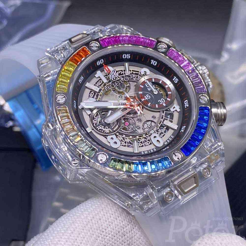 Hublot Big Bang rainbow baguette diamonds bezel 42mm see-through case 7750 full works XD190