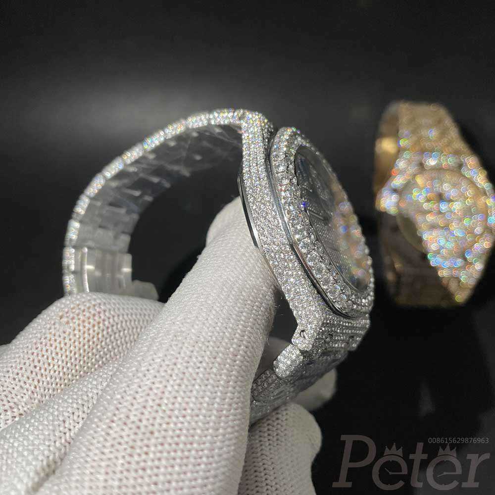 AP Moissanite diamonds shiny case blue Arabic numbers Swiss automatic can pass diamonds tester 017