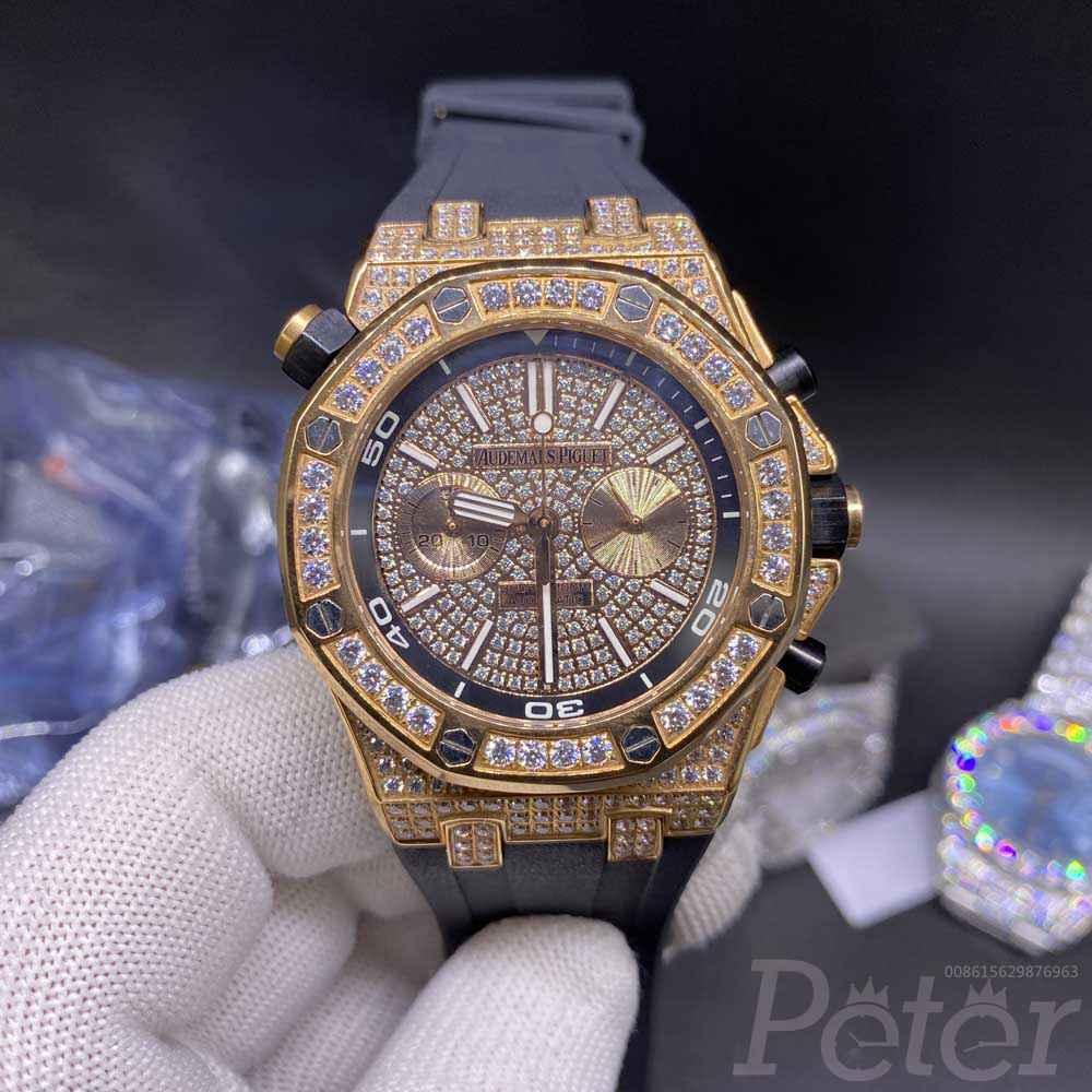AP rose gold full diamonds vk quartz movement chronograph function stopwatch men size 42.5 JJ070