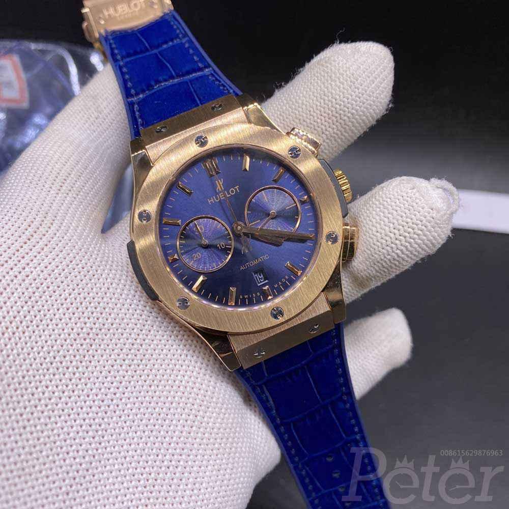 Hublot 7750 rose gold case 42mm blue dial blue strap chronograph full works M180