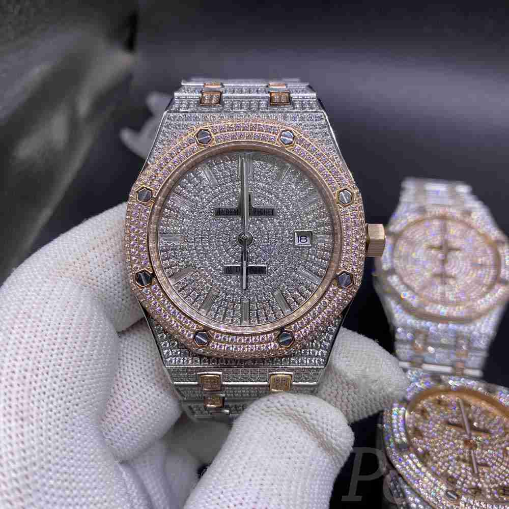 AP diamonds rose gold two tone color different dials high quality automatic shiny zircon stones 014