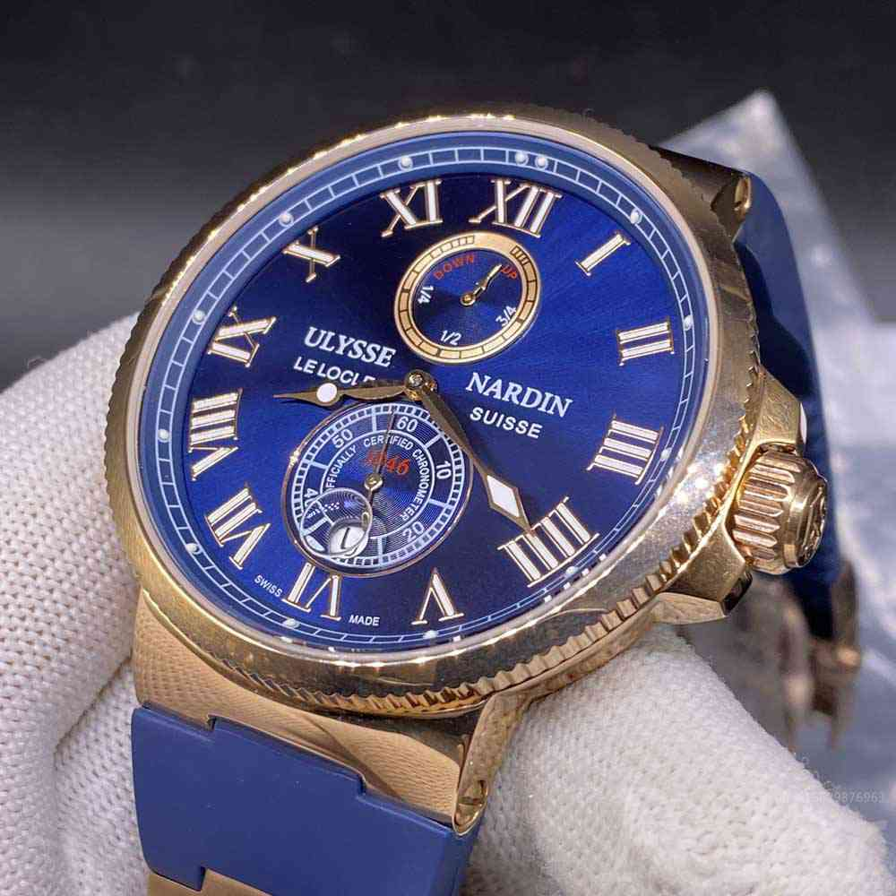 Ulysse Nardin rose gold case 47mm blue dial blue rubber automatic movement men's watch M035