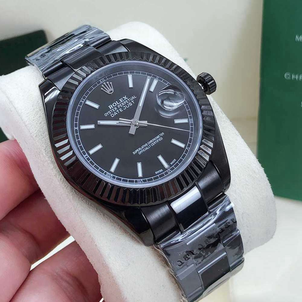 Datejust 41mm full black case fluted bezel oyster band AAA automatic 2813 movement men's watches