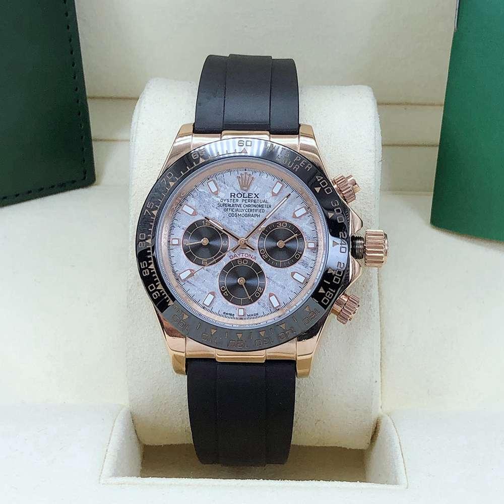 Daytona rose gold case 40mm Meteorite dial black rubber strap AAA 2813 movement men's watch S