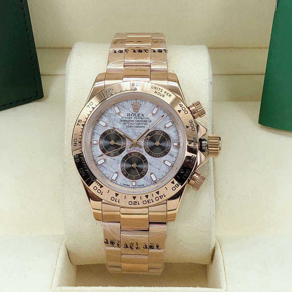Daytona Meteorite dial rose gold case 40mm AAA automatic 2813 stainless steel men's watch S