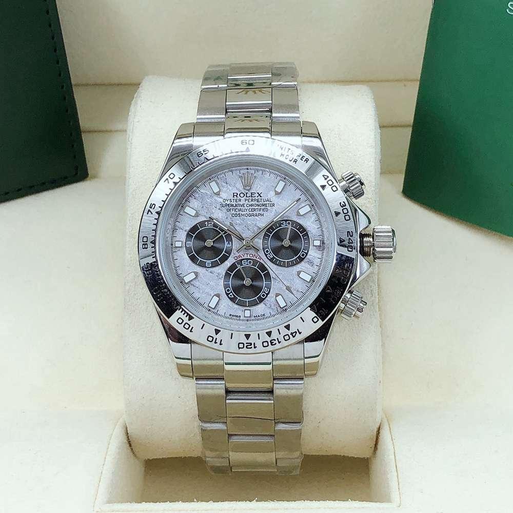 Daytona Meteorite face silver case 40mm AAA automatic 2813 stainless steel men's watch S