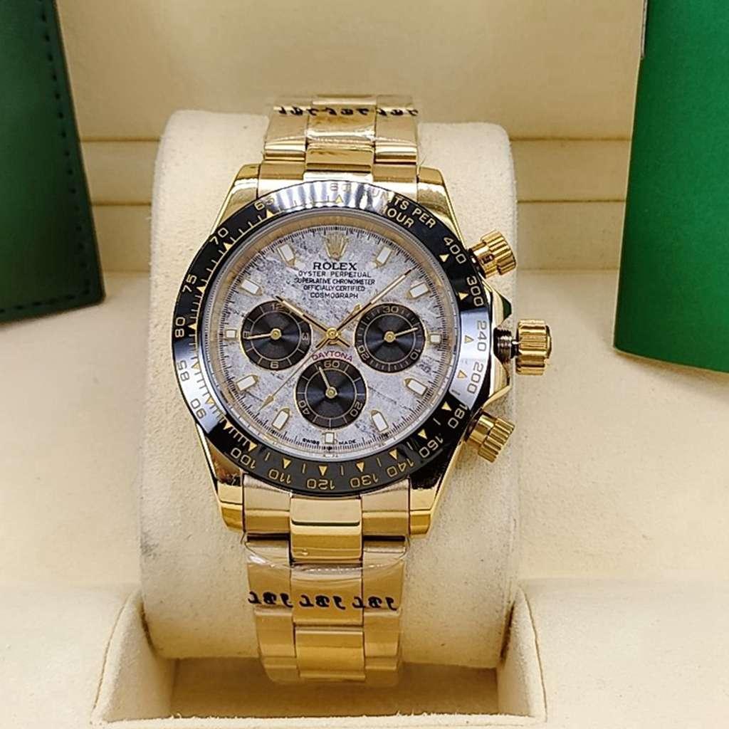 Daytona Meteorite face black bezel gold case 40mm AAA automatic men watch S023