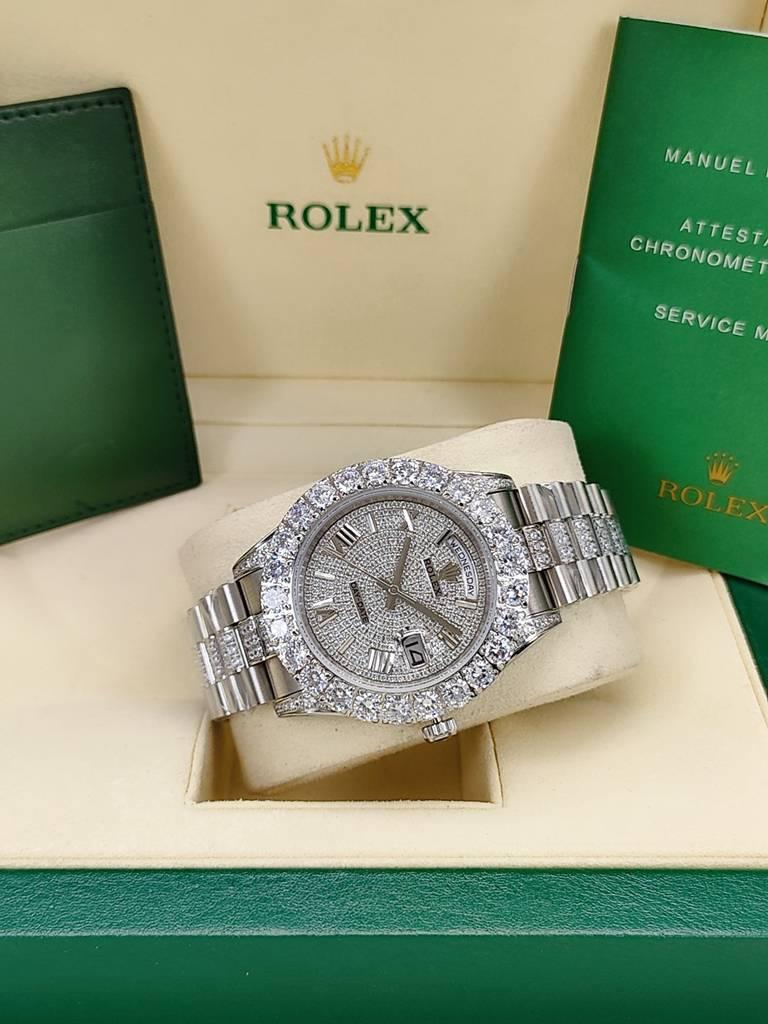 DayDate prongset bezel 44mm diamonds strap AAA automatic men Roman numbers S045