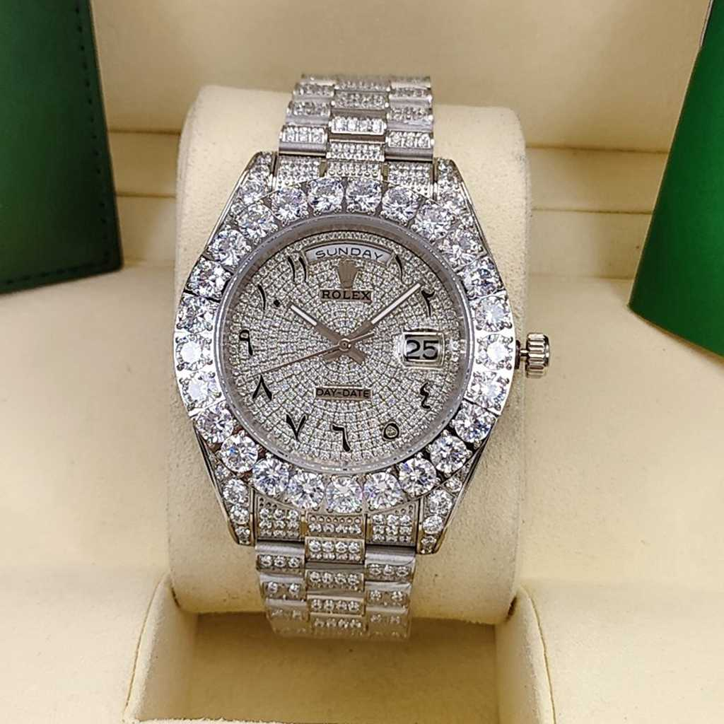 DayDate 43mm iced out silver case diamonds face Arabic numbers AAA automatic men S095