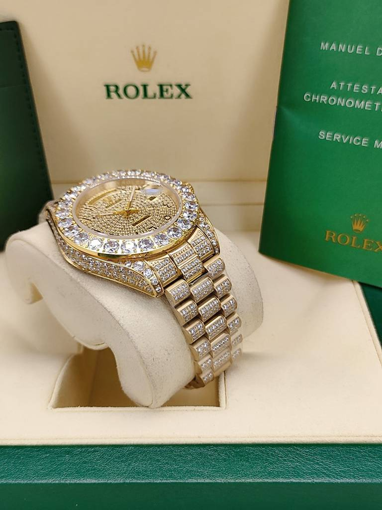 DayDate 43mm iced out gold case diamonds face Arabic numbers AAA automatic S095