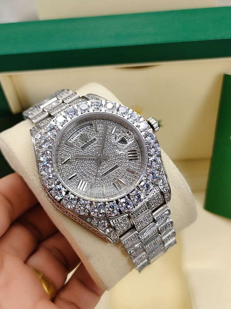 DayDate 43mm Roman numbers all diamonds silver case prongset bezel men AAA automatic S